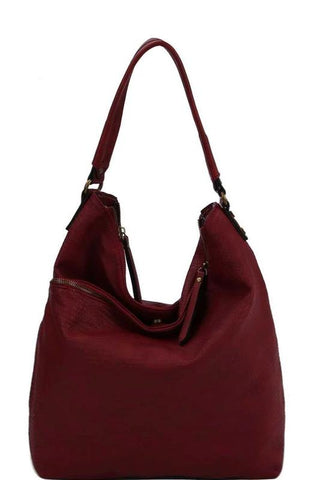 Red Double Zip Hobo Handbag