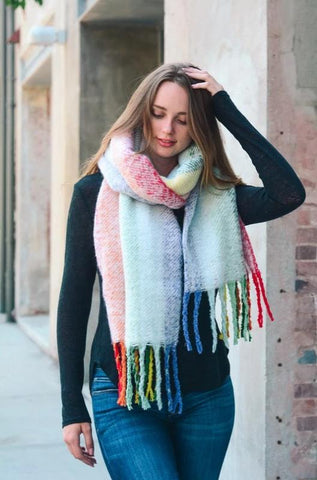 Rainbow Oversized Striped Scarf