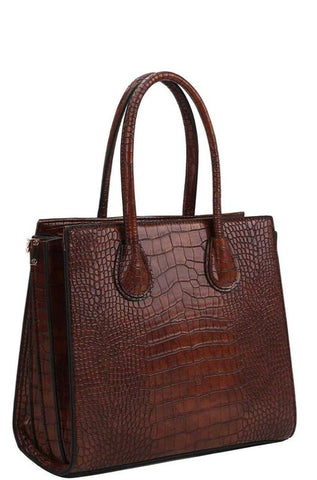 Brown Croc Crossbody Tote Set