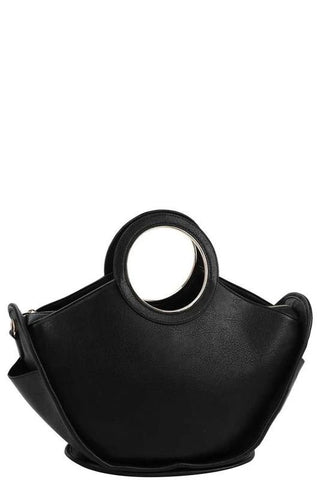 Black Circle Handle Satchel Bag