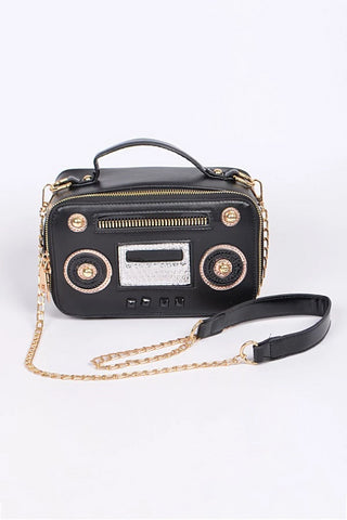 Vintage Radio Satchel Bag in Black
