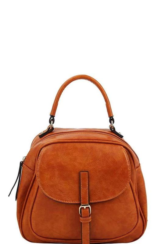 Cognac Buckle Front Convertible Backpack