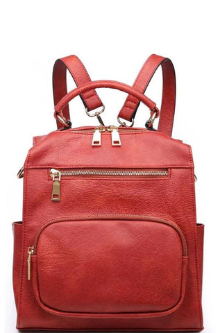 Rust Zip Front Backpack