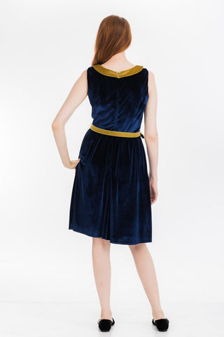 Navy Stretch Velvet Dress by Tulip B