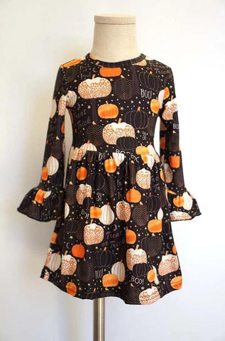Kids Black Pumpkin Ruffle Halloween Dress