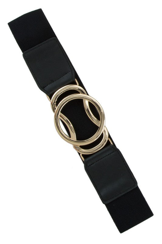 Stretch Belt with Gold Geometric Clasp in Multiple Colors