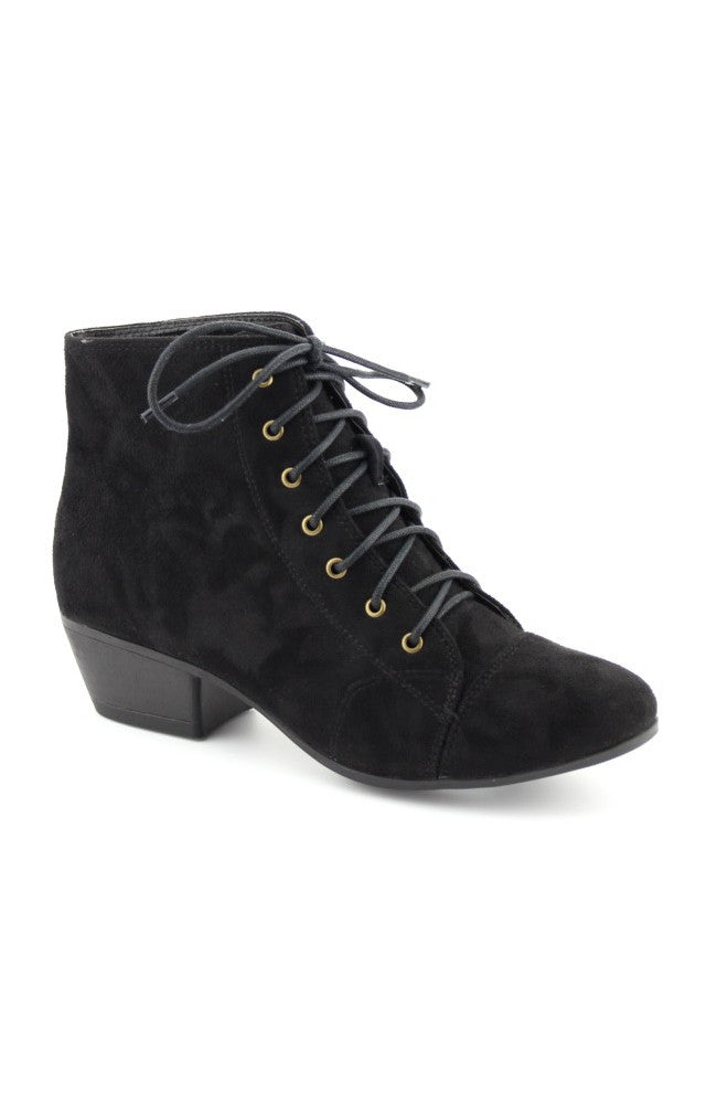 Flick Black Lace-Up Ankle Booties