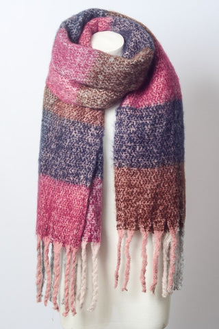 Raspberry Oversized Colorblock Tassel Trimmed Scarf