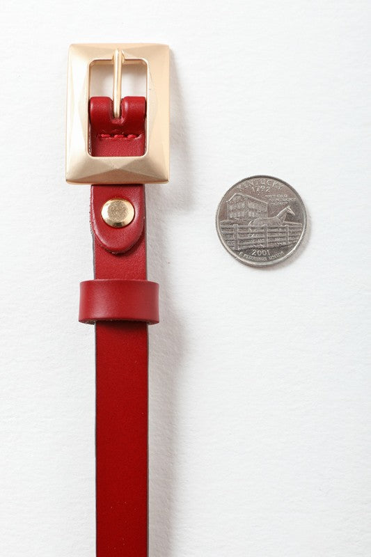 Skinny Belt in Red with Gold Buckle