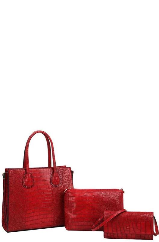 Red Croc Crossbody Tote Set