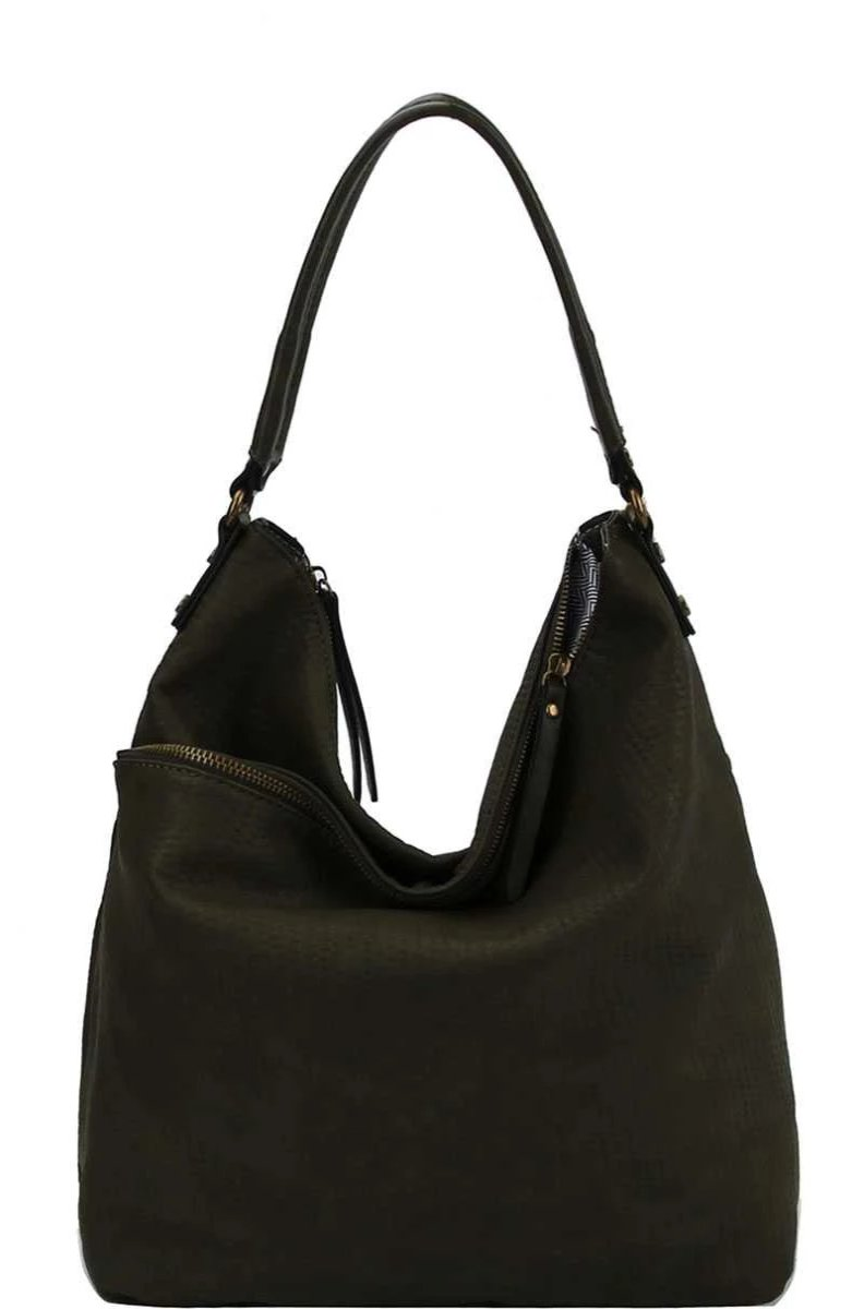 Black Double Zip Hobo Handbag