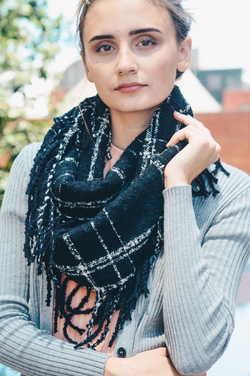 Black Window Pane Tassel Trim Infinity Scarf