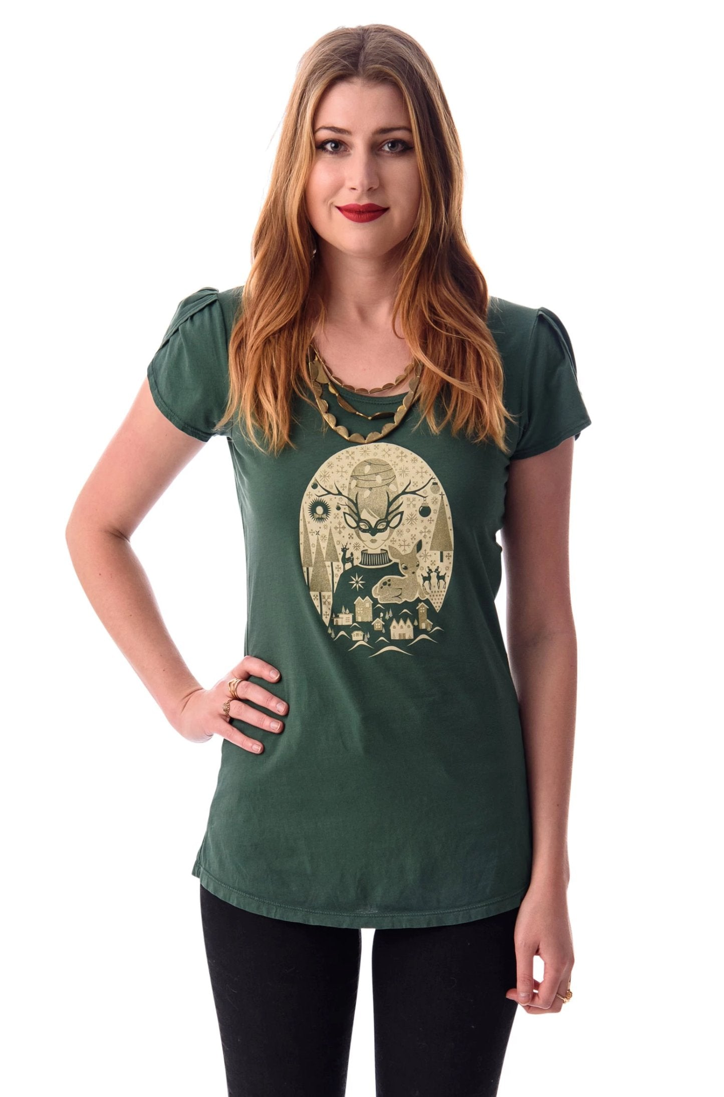 Green Christmas Short Sleeve T-Shirt Top by Blue Platypus