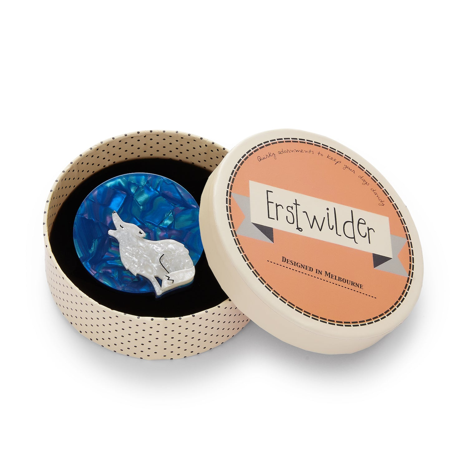 Howling at the Moon Brooch by Erstwilder