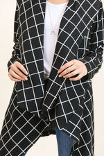 Black Grid Shawl Collar Jacket