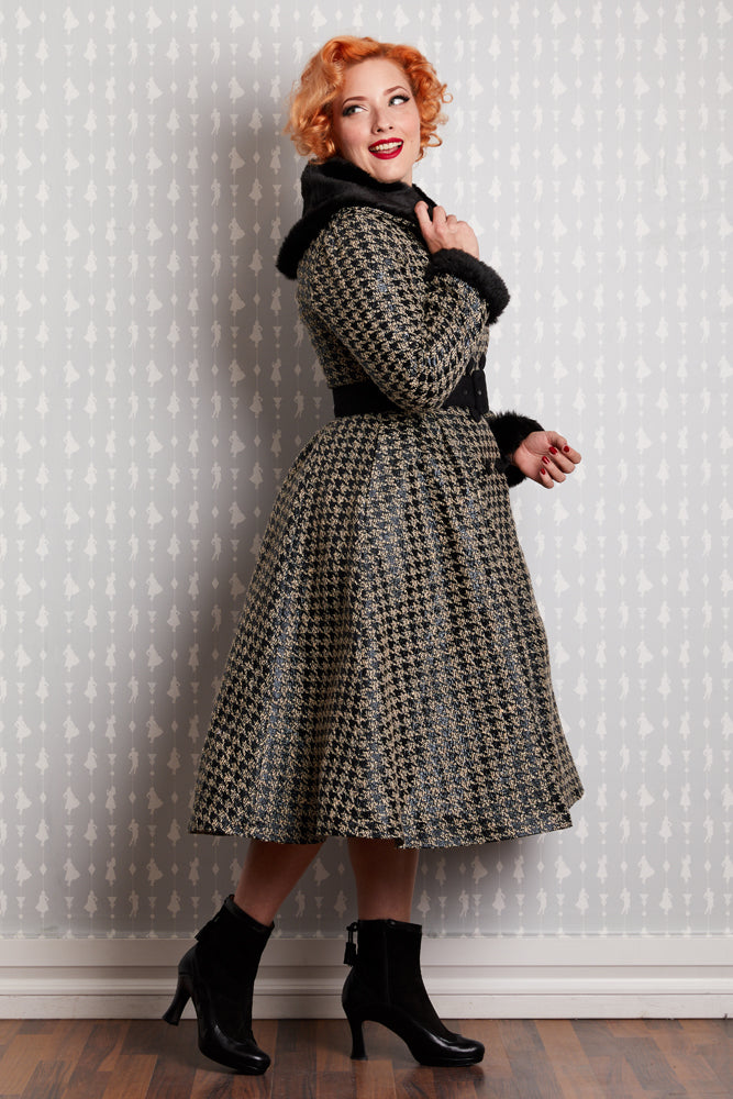 Hazel Dora Houndstooth Trench by Miss Candyfloss