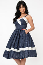 Navy Polka-dot Darienne Dress