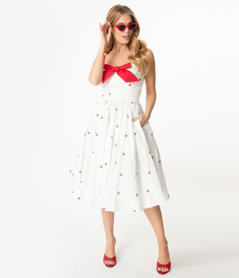 White & Red Cherry Print Golightly Dress