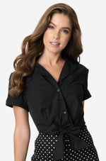 Black Cropped Button-up Top