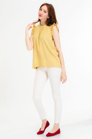 Mustard Gingham Ruffle Top by Tulip B.