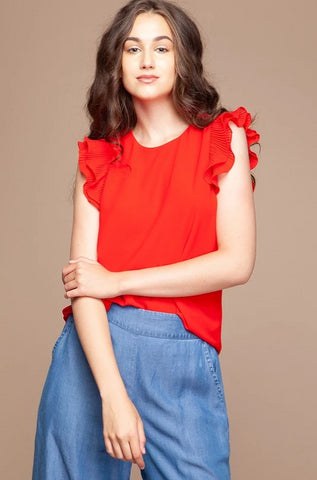 Red Pleated Flutter Sleeve Top