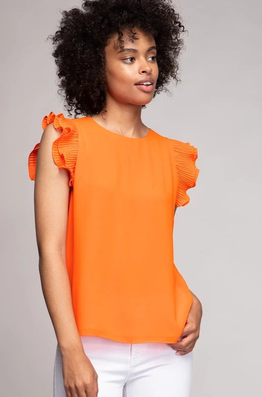 Orange Pleated Flutter Sleeve Top