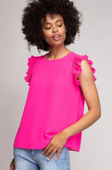 Hot Pink Pleated Flutter Sleeve Top