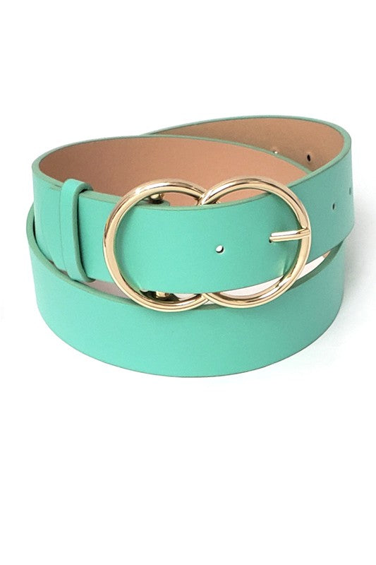 Double Ring Buckle Faux Leather Belt in Multiple Colors