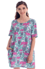 Magenta and Teal Jaguar Tunic Dress by Blue Platypus
