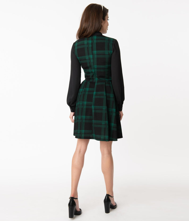 Black and Green Plaid Tie-Neck Dress by Smak Parlour