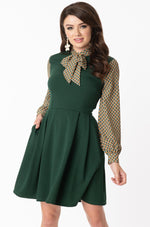 Hunter Green Geometric Print She E.O. Dress by Smak Parlour