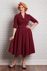 Roame-Bo Burgundy Swing Dress by Miss Candyfloss