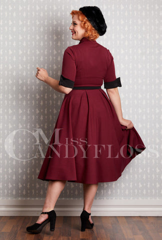 Edelie-Tea Dress in Burgundy by Miss Candyfloss