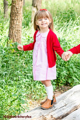 Kids V-Neck Cardigan in Red