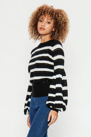 Black & White Striped Bishop Sleeve Sweater