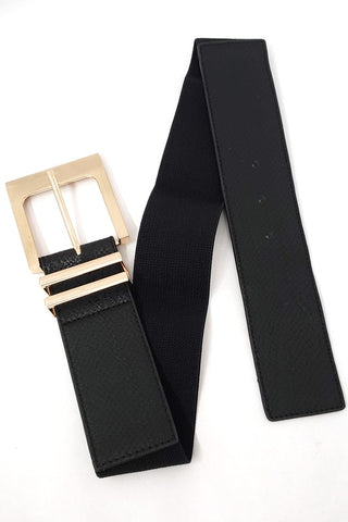 Elastic Belt with Gold Square Buckle in Multiple Colors!