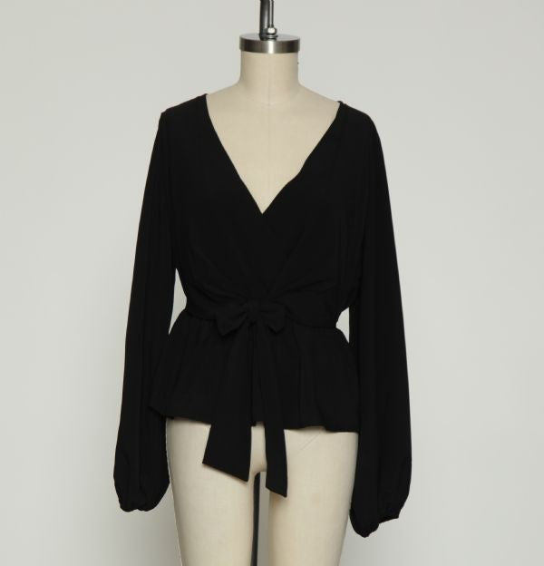 Blouson Sleeve Peplum Top in Black by Flying Tomato