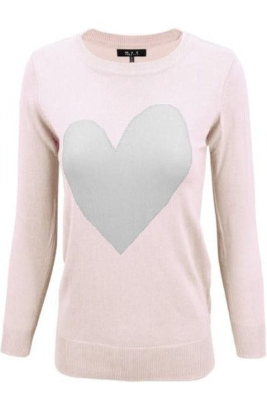 Blush Pink & Gray Heart Pullover Sweater