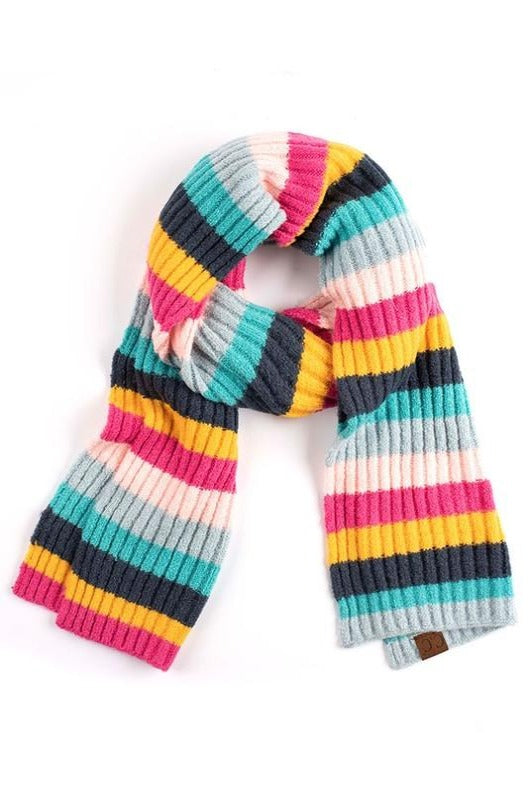 Pink Ribbed Striped Oblong Scarf