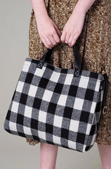 Black and White Plaid Tote