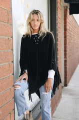 Black Lace-Up Knit Hooded Poncho