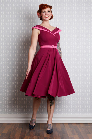 Drizella Dress in Raspberry Two-Tone by Miss Candyfloss