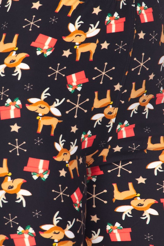 Reindeer and Presents Holiday Leggings