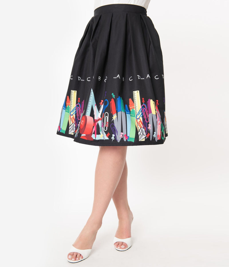 Jayne Teacher ABC Border Print Skirt