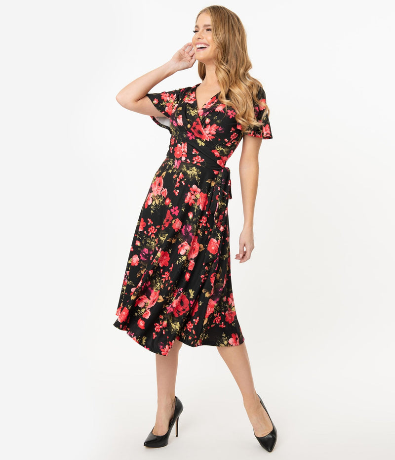 Black & Red  Rose Print Jennie Wrap Dress