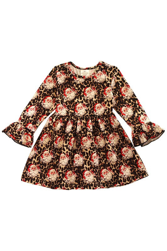 Kids Vintage Santa Leopard Dress