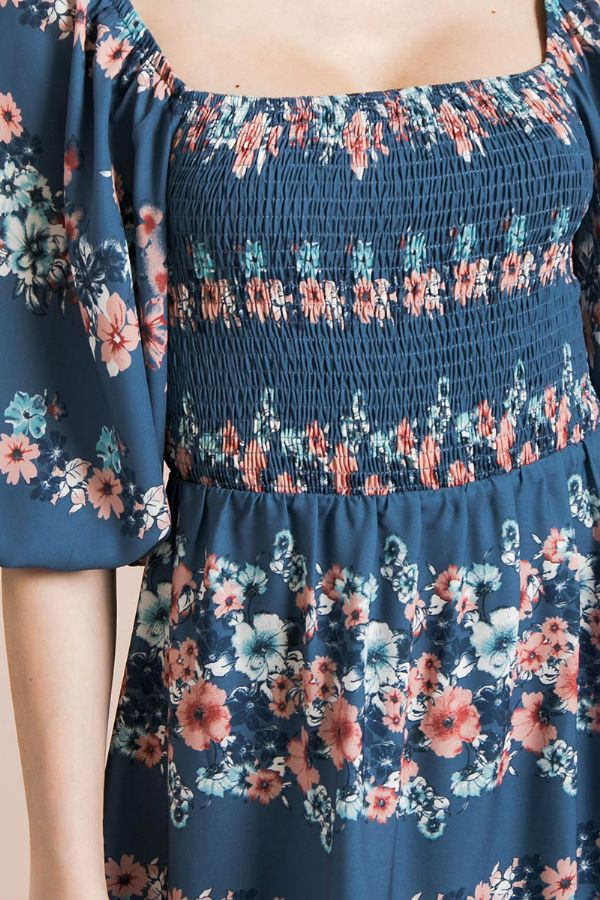 Floral Smocked Mini Dress in Blue