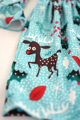 Kids Blue Rudolph Holiday Dress