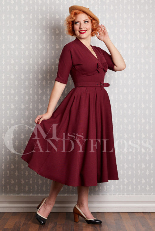 Zsofia-Bo Dress in Burgundy by Miss Candyfloss
