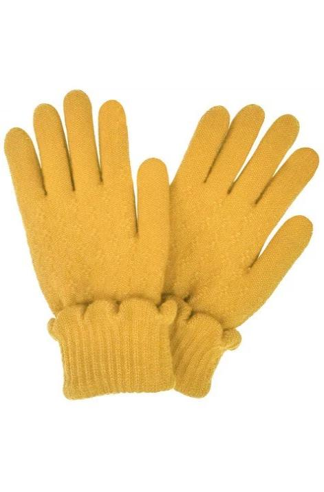 Mustard Knit Ruffle Gloves